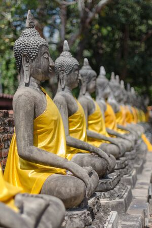 hunker: row of statue of Buddha with yellow robe Stock Photo