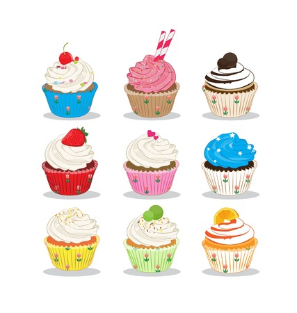 flavour: cupcake many flavour on white background