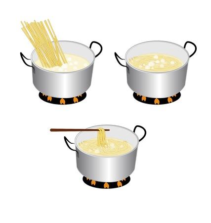 boiling pot: spaghetti cooker on white
