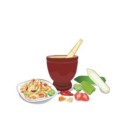 papaya pok pok and ingredients on white background