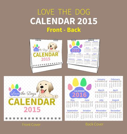 calendar 2015 to 2016 front and back cover on dot and white background