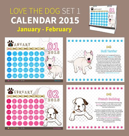calendar 2015 january to february on dot and white background Vector
