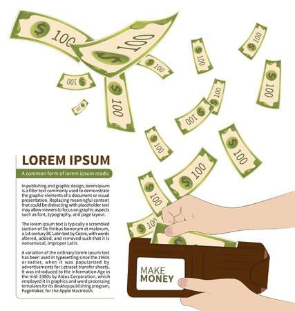 money rain: Money in Wallet on white background