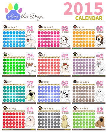 the dog cute in calendar on colourful background Vector