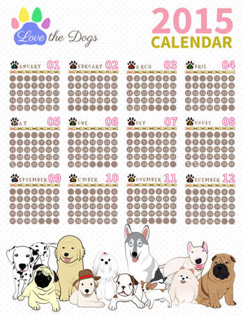 the dog cute in calendar on white background Vector