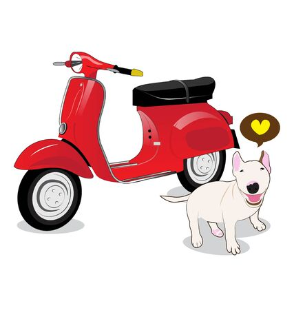 vespa and Bull Terrier dog on white background Vector