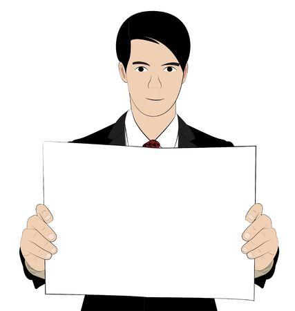 vecter: business man hold paper on white background Illustration
