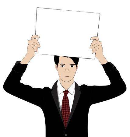 business man hold paper on white background Illustration