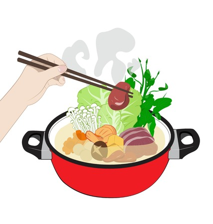 Hot Sukiyaki on white background