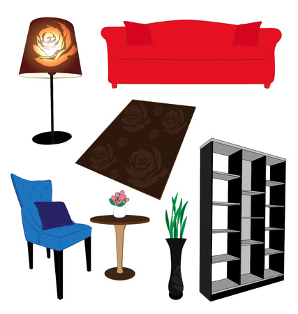 Living Room Furniture On White Background Stock Vector