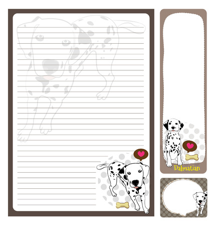 vecter: papernote dalmatian cartoon on brown and white background Illustration