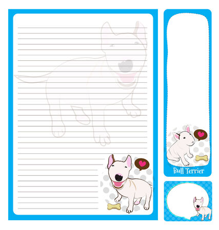 paper note: paper note bull terrier cartoon on blue and white  Illustration