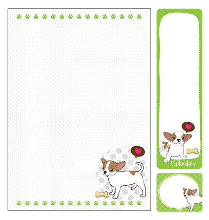 paper note: paper note chihuahua cartoon on green and white