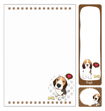 beagle: paper note beagle cartoon on brown and white  Illustration