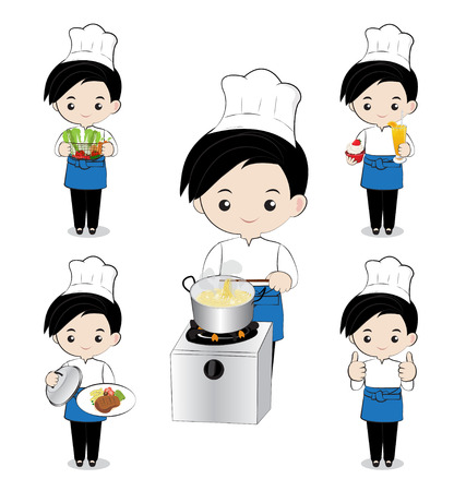 little boy chef cooking on white background Illustration