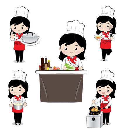little chef: little gril chef cooking on white background