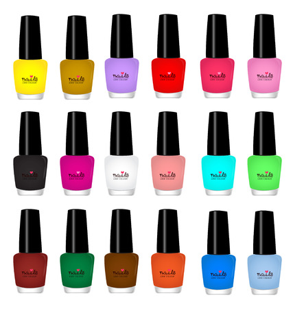 pedicure: nail varnish multicolored on white background