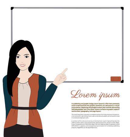 whiteboard: women teacher and whiteboard on white background