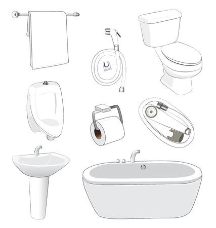 sanitary: sanitary ware bathroom on white background