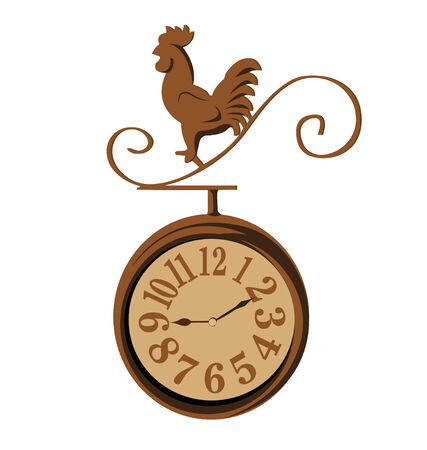 early morning: clock chicken vintage on white background