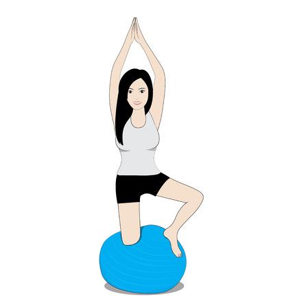 pilates ball: women play balance ball on white background