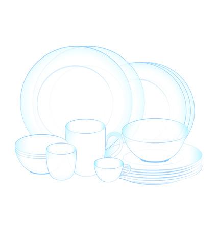 dishwashing liquid: pure dish clean on white background Illustration