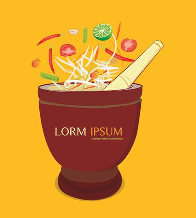 somtum: papaya salad with mortar and ingredients on orenge background