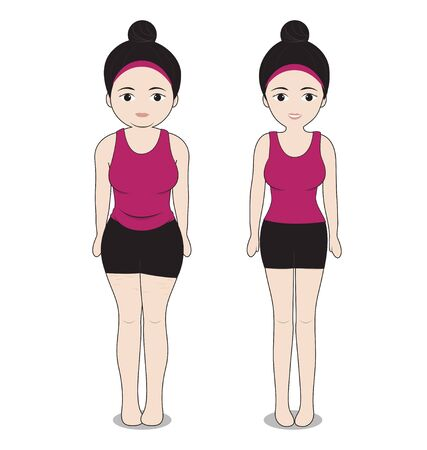 women fat and shapely on white background