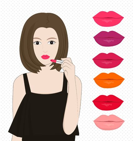 applying lipstick: women applying lipstick and colour of labias on white background Illustration