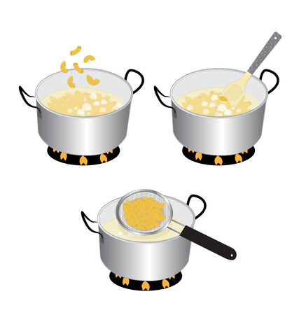 dip: how to cooking macaroni on white background Illustration