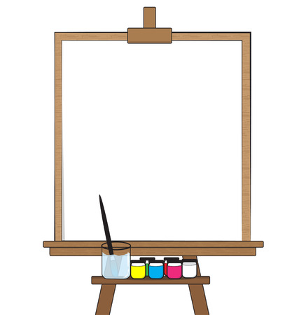 paper art: Drawing board and Equipment on white background