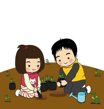 childern: childern planting trees on the ground Illustration