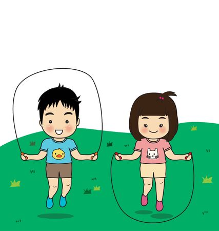 childern: childern exercise jumping rope on lawn