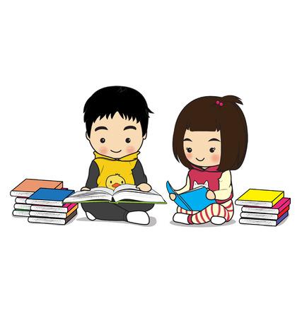 childern: childern reading a book on white background