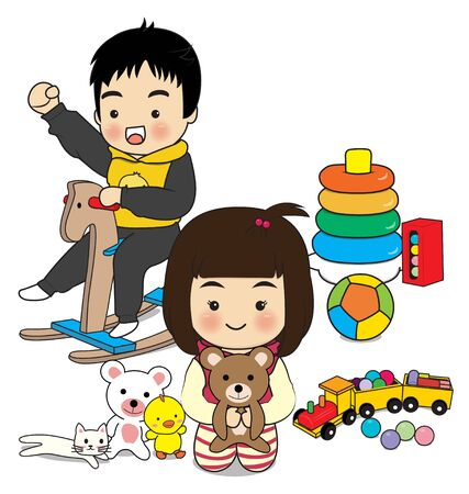 childern play toy on white background Vector