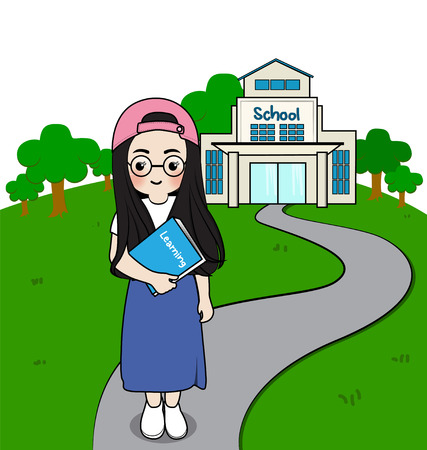 morning walk: girl student standing in front of school