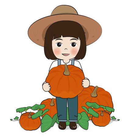 fruit stem: planter harvest pumpkins on white background
