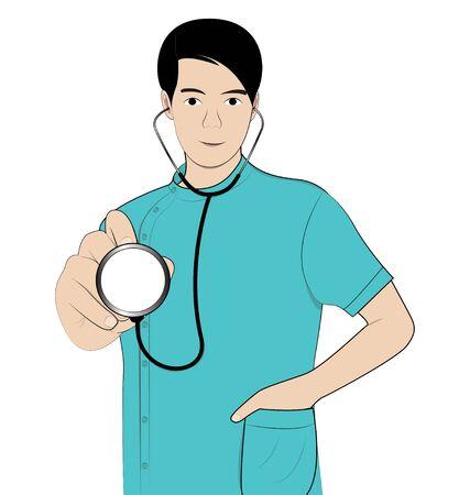 doctor symbol: man doctor hold Stethoscope on white background Illustration