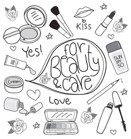 makeup brush: cosmetics set drawing on white background