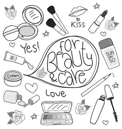 cosmetics set drawing on white background