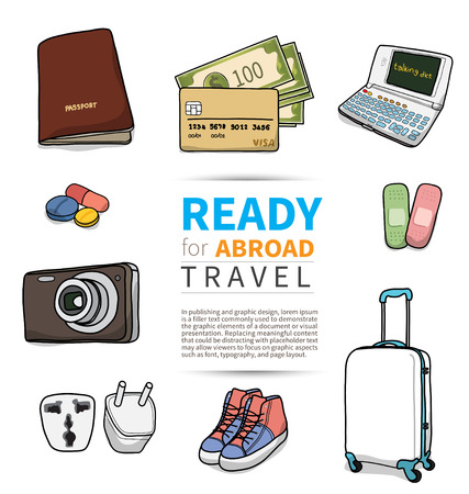 해외로: object for abroad travel on white background