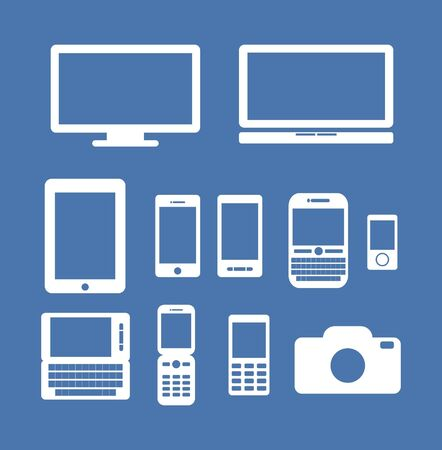 Set of media device illustration. Gadget icon silhouette. Vector