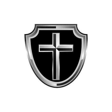 shiny shield: Silver shield with a cross illustration