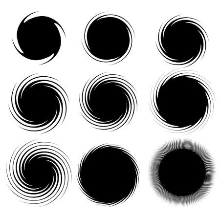 espiral: Conjunto de espirales. Círculos dan forma a los elementos. Giro.