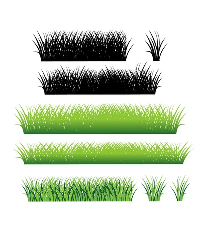 grass blades: Grass border collection. Grass pattern. Set of grass. Stock vector.