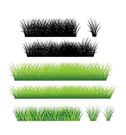 grass border: Grass border collection. Grass pattern. Set of grass. Stock vector.