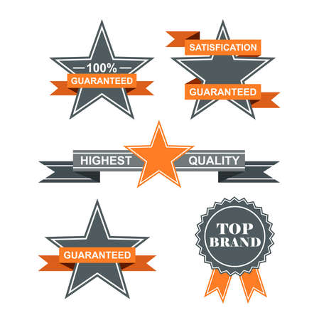 Set of Guarantee Badges with retro vintage style. Vector