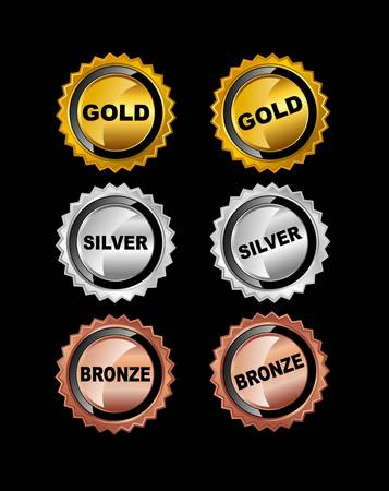 Set of Medals. Gold Medal. Silver Medal. Bronze Medal.