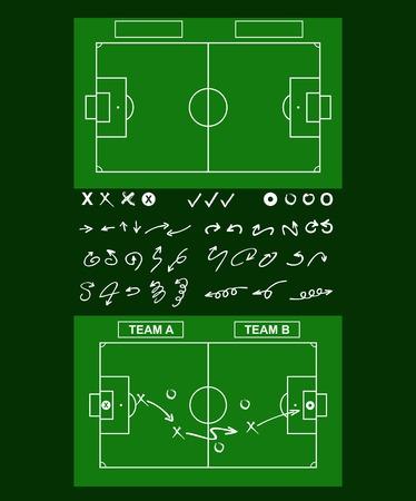 Tactics diagram on a board. Tools of soccer tactics. Strategy board.
