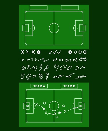 tactics: Tactics diagram on a board. Tools of soccer tactics. Strategy board.